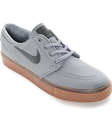 Nike SB Stefan Janoski Cool Grey, Black & Gum Canvas Skate Shoes