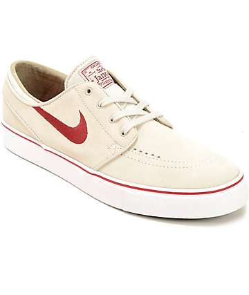 Nike SB Stefan Janoski Light Bone & Red Skate Shoes
