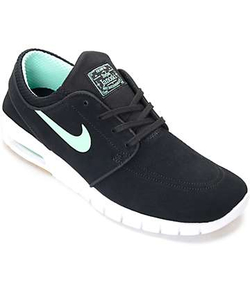 Nike SB Stefan Janoski Max Black & Green Glow Skate Shoes