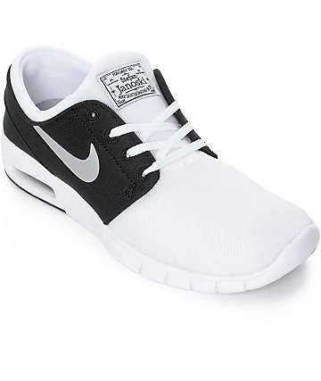 Nike SB Stefan Janoski Max zapatos de malla blanco, plata, y negro (hombre)