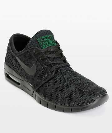 Nike SB Stefan Janoski Max zapatos de malla en negro y verde