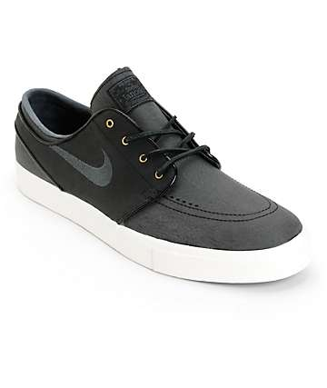 Nike SB Stefan Janoski PR SE Black Leather Skate Shoes