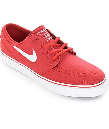 Nike SB Stefan Janoski Red Canvas Boys Skate Shoes