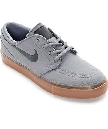 Nike SB Stefan Janoski zapatos de skate de lona gris y goma (niño)