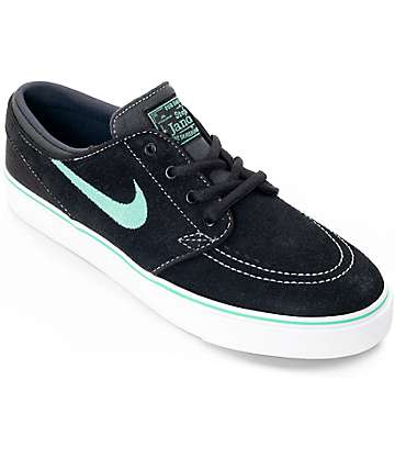 Nike SB Stephan Janoski Black & Green Glow Boys Skate Shoes
