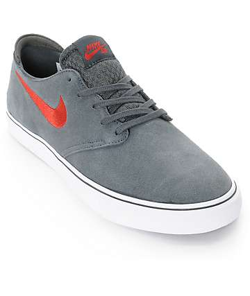 Nike SB Zoom Oneshot Anthracite, Red, & Black Skate Shoes