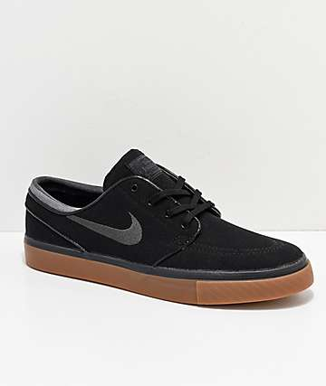 Nike SB Zoom Stefan Janoski Black, Anthracite, & Gum Canvas Shoes