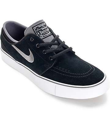 Nike SB Zoom Stefan Janoski Black, Light Graphite, and White Boys Skate Shoes