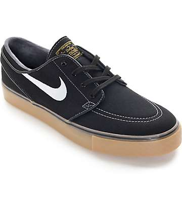 Nike SB Zoom Stefan Janoski Black, White, and Gum Skate Shoes