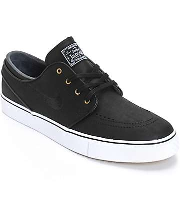 Nike SB Zoom Stefan Janoski Black & White Leather Skate Shoes