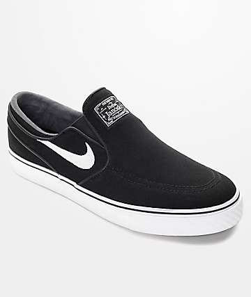 Nike SB Zoom Stefan Janoski Black & White Slip-On Skate Shoes
