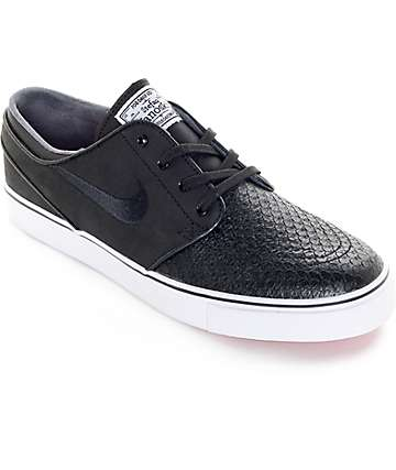 Nike SB Zoom Stefan Janoski Black Croc & White Leather Skate Shoes