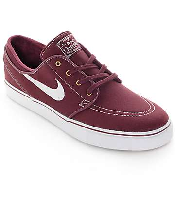 Nike SB Zoom Stefan Janoski Night Maroon & White Canvas Skate Shoes