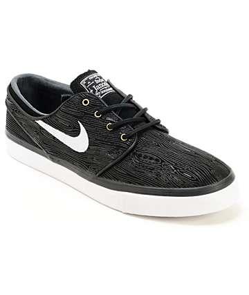 Nike SB Zoom Stefan Janoski PR Black & White Woodgrain Skate Shoes