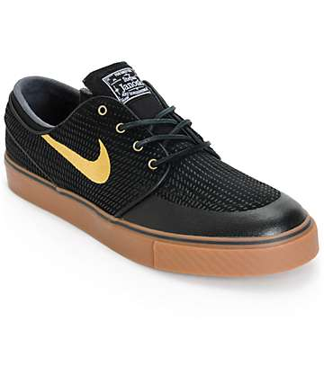 Nike SB Zoom Stefan Janoski PR SE Black, Gold, & Gum Skate Shoes