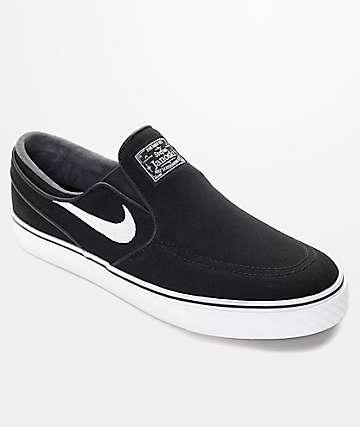 Nike SB Zoom Stefan Janoski zapatos de skate sin cierre en blanco y negro