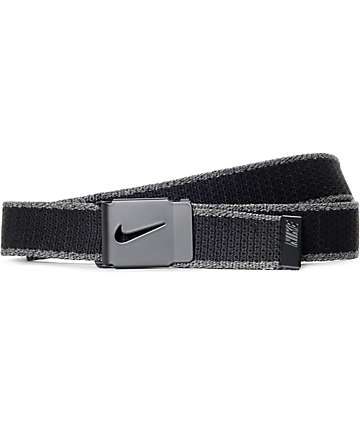 Nike Tech Essential cinturón tejido en negro y color carbón