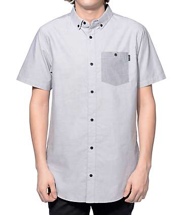 Ninth Hall Balance Grey and Charcoal 2 Tone Button Up Shirt
