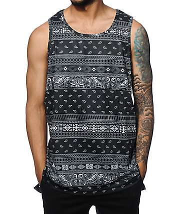 Ninth Hall Band Camp Tribal Bandana Mesh Tank Top