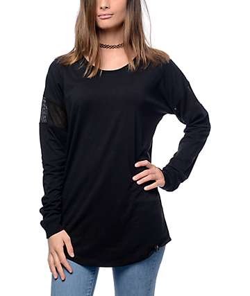 Ninth Hall Bird Black Mesh Long Sleeve Top