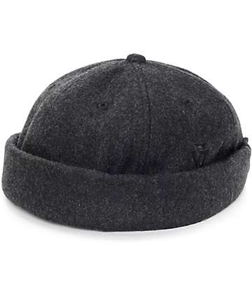 Ninth Hall Black Pigment Dyed Twill Brimless Hat