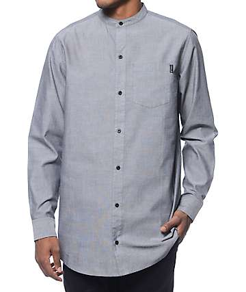 Ninth Hall Classix Grey Mandarin Long Sleeve Button Up Shirt