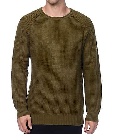 Ninth Hall Commando Green Waffle Knit Sweater