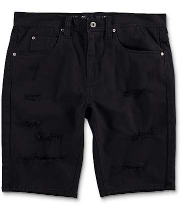 Ninth Hall Con Black Destroyed Denim Shorts