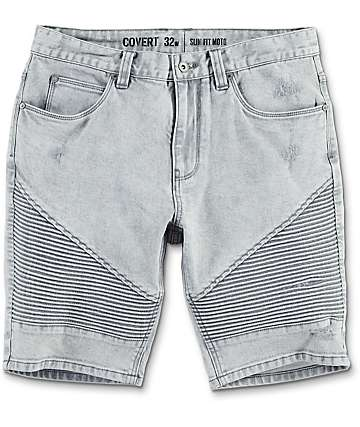 Ninth Hall Covert Grey Acid Wash Moto Shorts