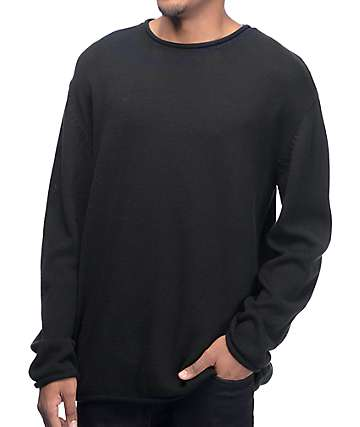 Ninth Hall Danzo Solid Black Crew Sweater