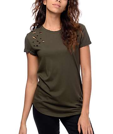 Ninth Hall Dear Olive Destructed Elongated T-Shirt