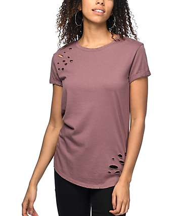 Ninth Hall Dear Rose Taupe Destructed T-Shirt
