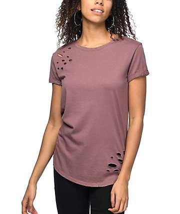 Ninth Hall Dear camiseta rota en gris pardo rosa