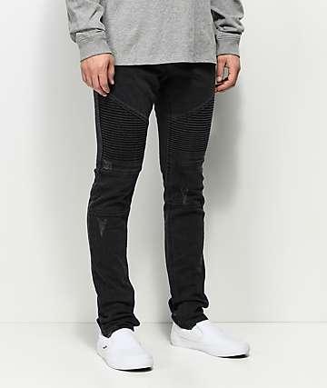Ninth Hall Decoy Abyss Moto jeans desgastados en negro