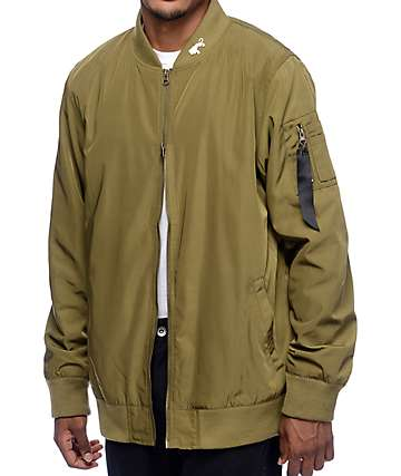 Ninth Hall Deprivation Olive Nylon Bomber Jacket
