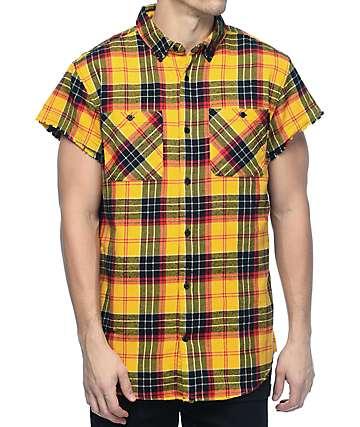 Ninth Hall Enzo camisa de franela de manga corta en rojo y amarillo