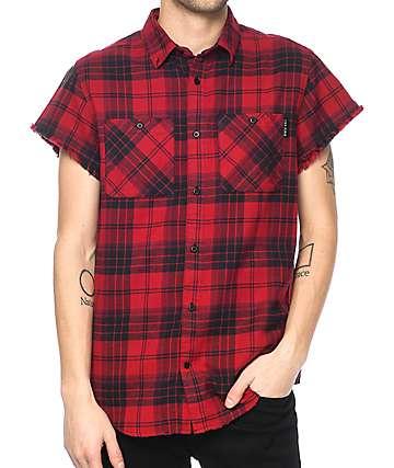 Ninth Hall Enzo camisa de franela rota en rojo y negro