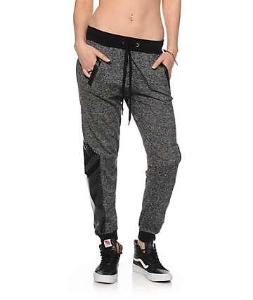 Ninth Hall Faux Leather Panel Speckle Jogger Pants