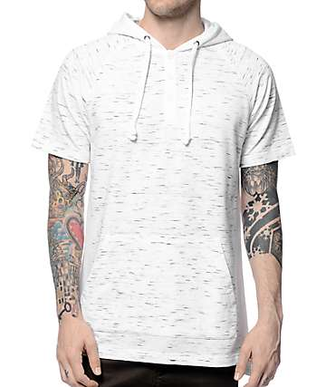 Ninth Hall Ghosted Grey Space Dye Short Sleeve Henley Hoodie
