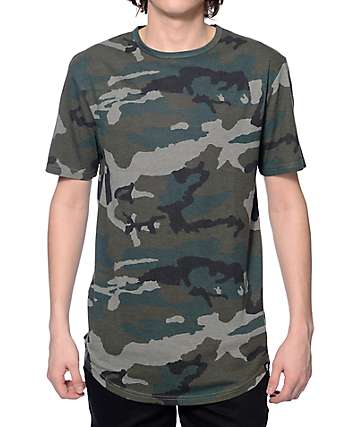 Ninth Hall High Rise Camo Curved Long T-Shirt