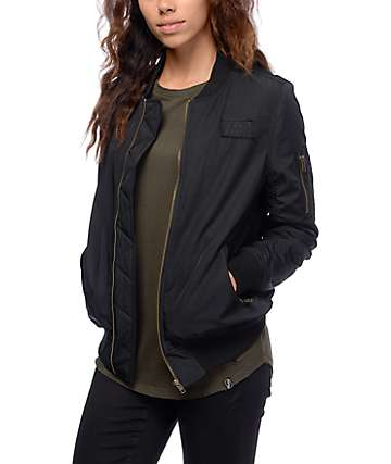 Ninth Hall Jonni Black Satin Bomber Jacket
