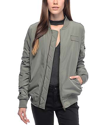 Ninth Hall Jonni Olive Satin Bomber Jacket