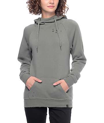 Ninth Hall Kitzy Destructed Olive Hoodie