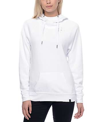 Ninth Hall Kitzy White Destucted Pullover Hoodie