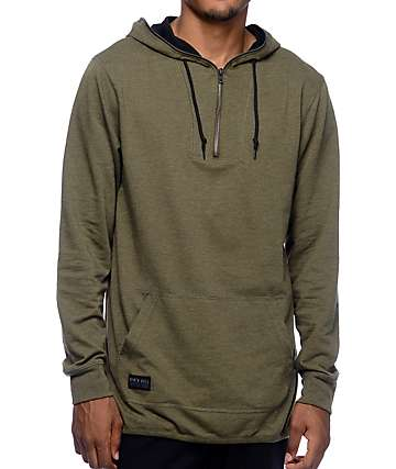 Ninth Hall Liberty Olive Zip Henley Hooded Shirt