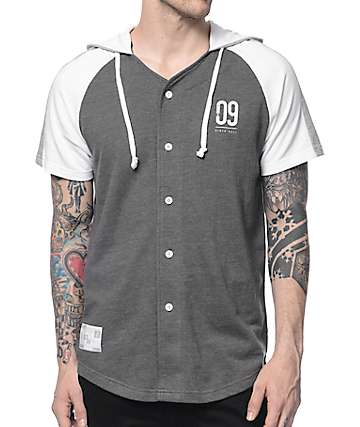 Ninth Hall Minor League Grey & White Hooded Baseball Shirt