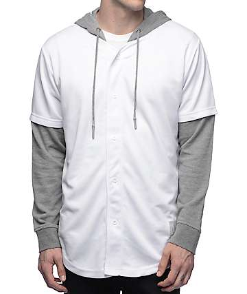 Ninth Hall Nelson White & Grey Long Sleeve Baseball Shirt