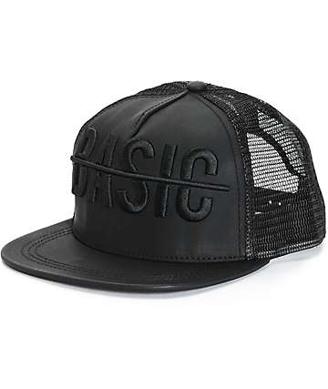 Ninth Hall Not Basic Black PU Trucker Hat