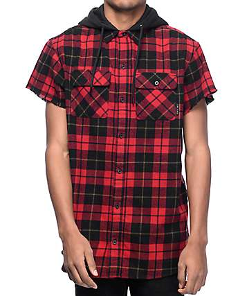 Ninth Hall Pablo Black & Red Short Sleeve Hooded Flannel