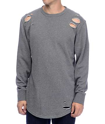 Ninth Hall Patton Destructed Grey Long sleeve Knit Shirt